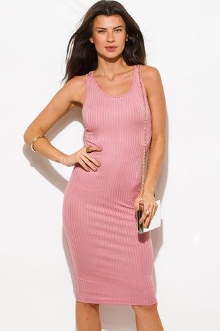 Ribbed knit bodycon dress- dusty pink
