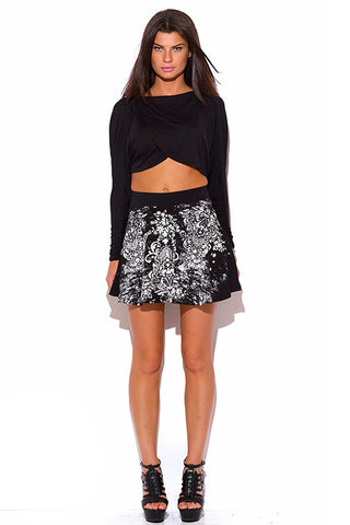 Mini skirt- black baroque graphic