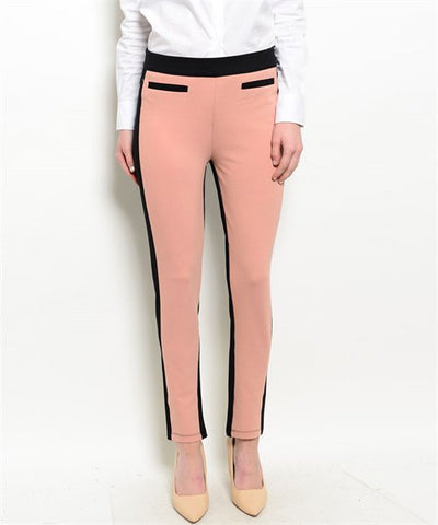 Pants- blush black color block