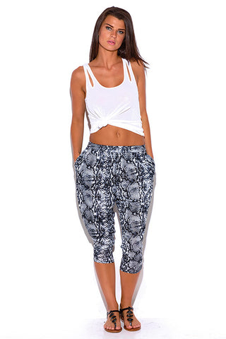 Lounge Pants Capris - gray snake animal print