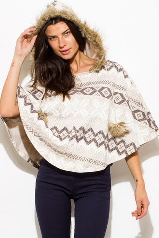 Pullover Poncho -chevron snowflake print SOLD OUT
