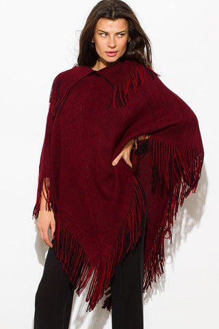 Poncho sweater- red with fringe SOLD OUT