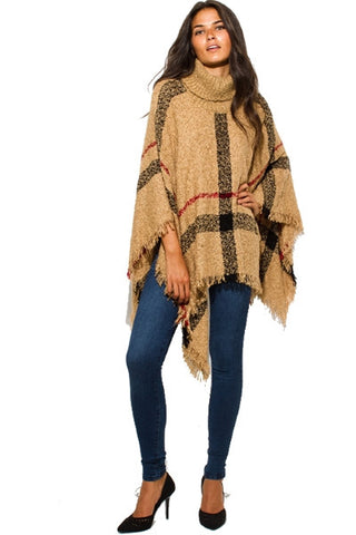 Poncho sweater - camel beige checker plaid