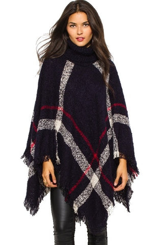 Poncho sweater - dark checker plaid knit