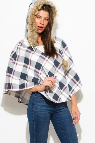 Top- Checker print hooded poncho SOLD OUT