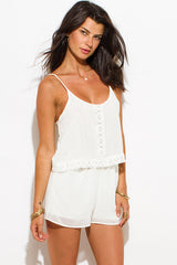 Romper-white tiered with crochet trim