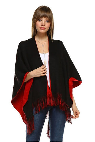Reversible Shawl Cape- black & red