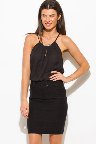 Black pencil skirt with back pockets