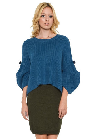 Teal blue sweater with bell sleeves