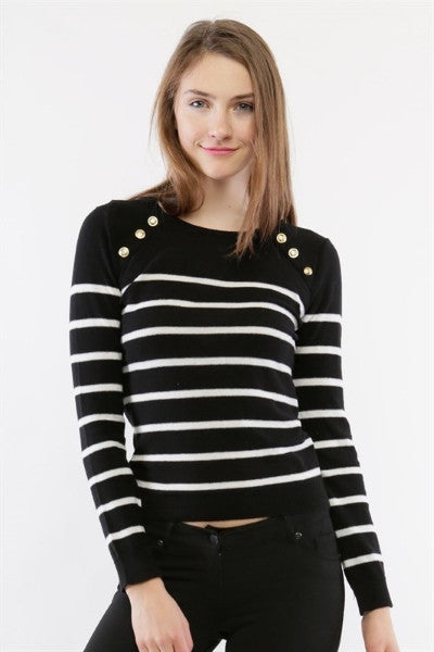 Stripe sweater with gold buttons