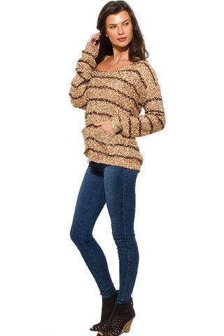 Sequined sweater- camel & brown stripe