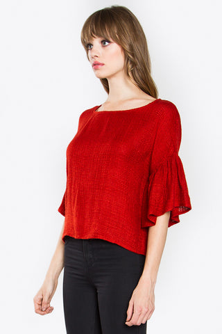 Twill sweater top- red