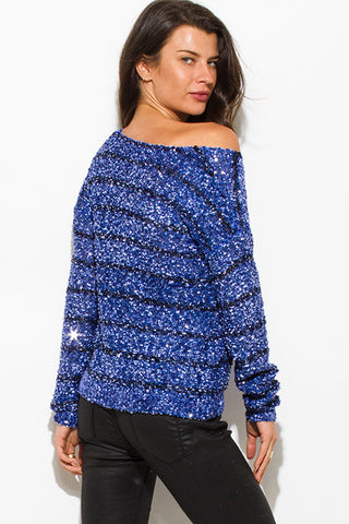 Sequined sweater- blue & black stripe