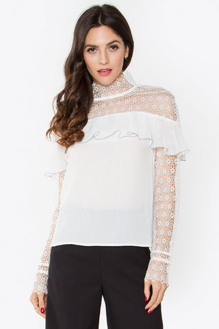Ruffle lace top- White