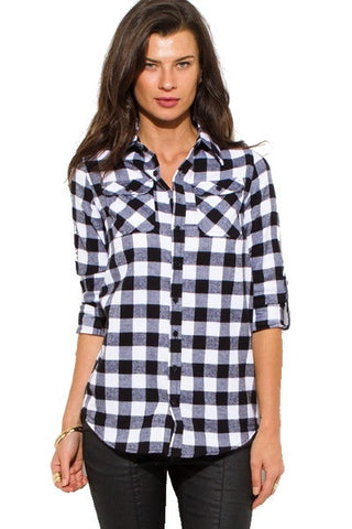 Top- black plaid chekcer blouse