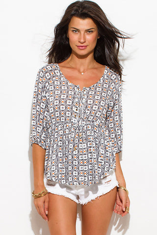 Top- blouse geometri abstract print laceup