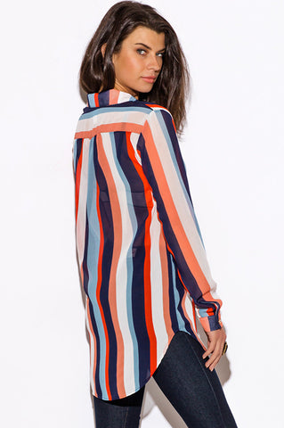 Blouse top - blue and red stripe sheer chiffon