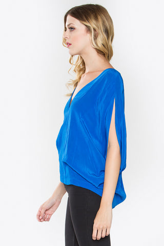 Blue dolman sleeveless top