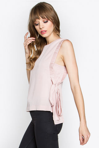 Blush pink top with side ties