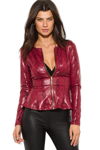 Leather peplum jacket- burgundy red animal print
