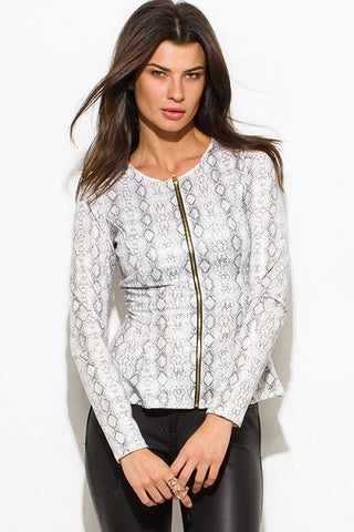Leather peplum jacket- white python animal print