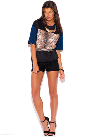 Sequin Top with black blue color blocking