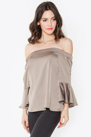 Ruffle sleeve top- Olive green