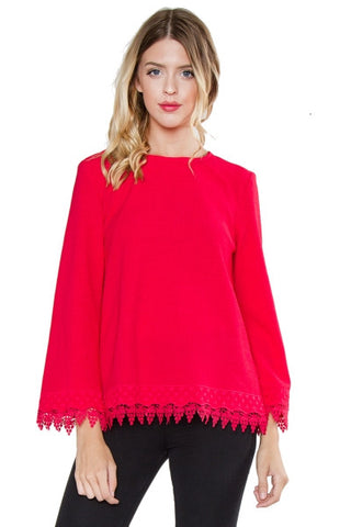 Magenta Red lace embroidery top