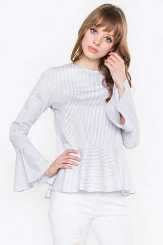 Stripe peplum blouse with bell sleeves