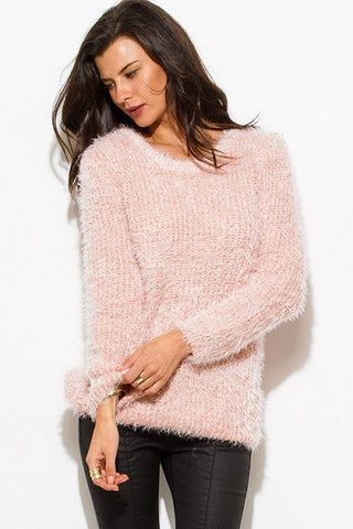 Sweater- dusty pink fuzzy boho top