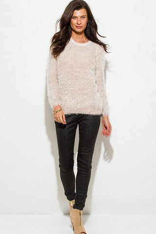 Sweater- beige fuzzy boho top