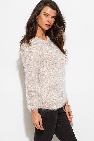 Sweater- beige fuzzy boho top SOLD OUT