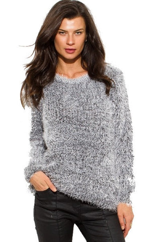 Sweater- peppered black fuzzy boho top SOLD OUT