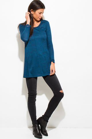Ribbed knit tunic top- teal blue SOLD OUT