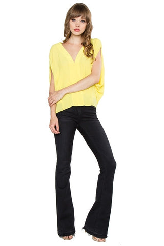 Dolman sleeveless top -lemon yellow