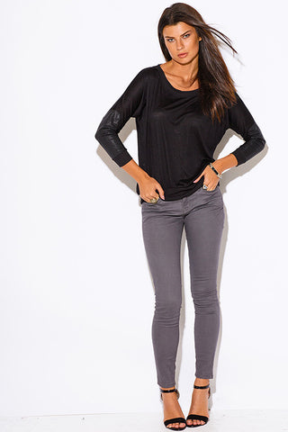 Black Top - long sleeve with leather elbow patch