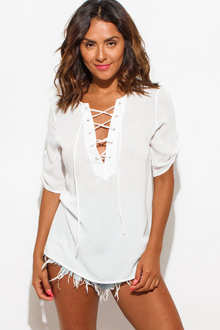 Top- blouse white laceup