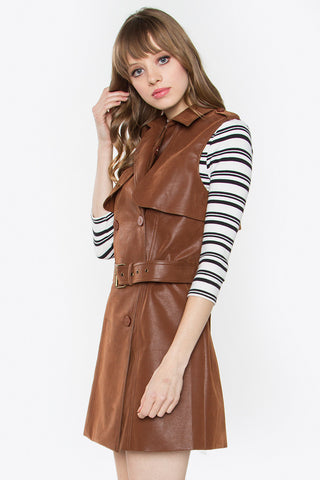 Leather trench vest