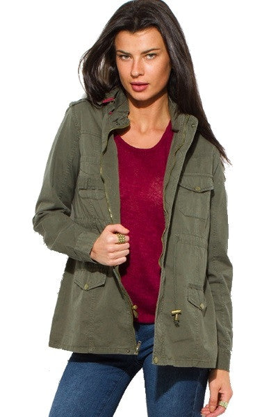 Hooded army olive green jacket