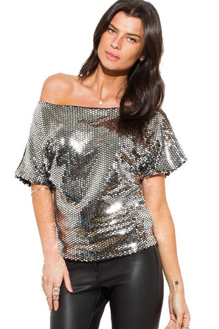 Dolman sleeve top- silver metallic sequin
