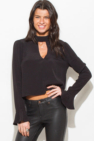 Black choker mock neck top