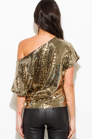 Dolman sleeve top- gold metallic sequin