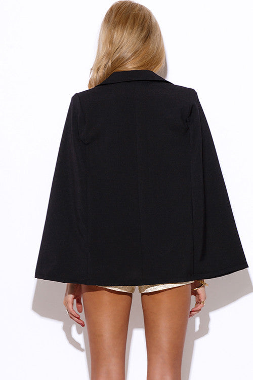 Blazer Cape Jacket- Black