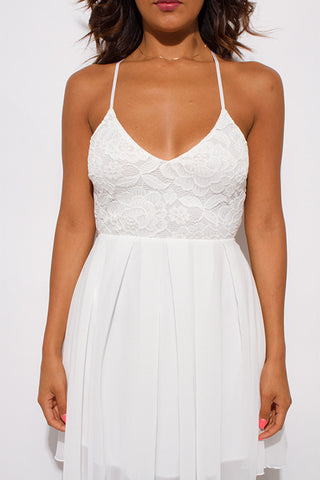 Mini dress- ivory white chiffon backless