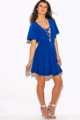 Short Dress- royal blue lace up kimono sleeve