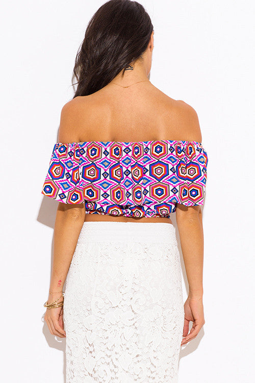 Off the shoulder Top- pink purple multicolor abstract print