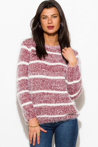 Fuzzy stripe sweater- burgundy red