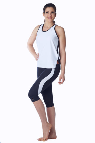 Racerback Tank Top - white & black