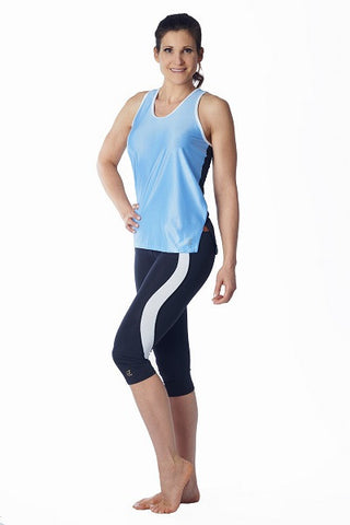 Racerback Tank Top - blue & black