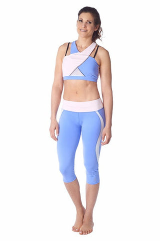 Wrap Sports Bra- pink, white & blue